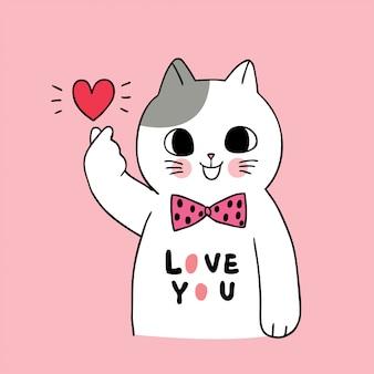 Dessin animé mignon chats de saint valentin et mini vecteur de coeur