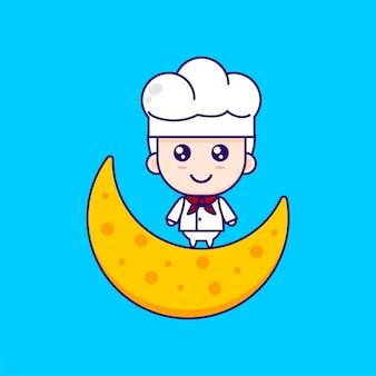 Dessin animé mignon chef illustration chibi vector design