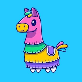 Dessin animé mignon cheval pinata. concept d'icône de loisirs animaux isolé. style de bande dessinée plat