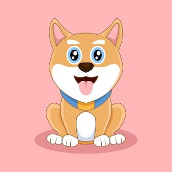 Dessin animé mignon chien akita