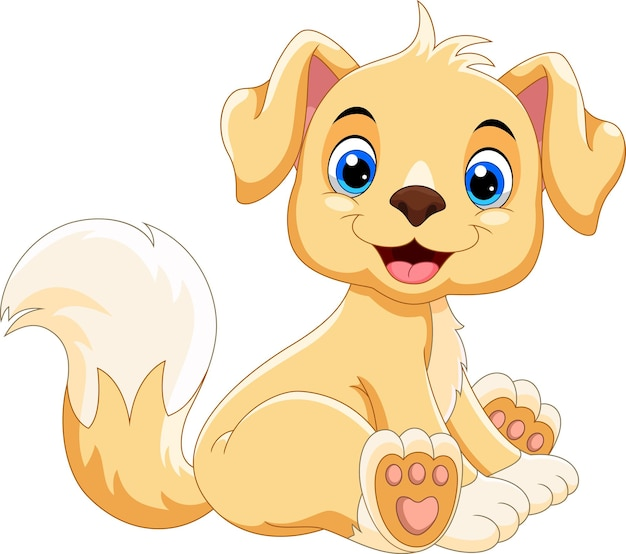 Dessin animé mignon chien assis et sourire
