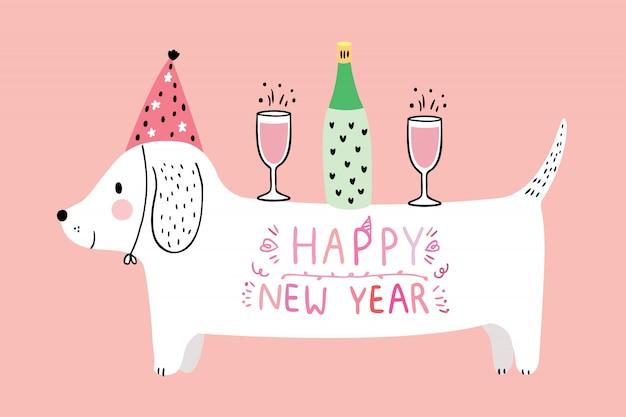 Dessin animé mignon chien et champagne célébration nouvel an vecteur.