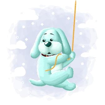 Dessin animé mignon chien escalade illustration