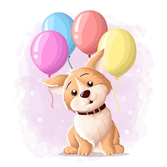 Dessin animé mignon chien eskimo illustration