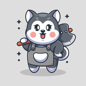 Dessin animé mignon chien husky tenant une hache