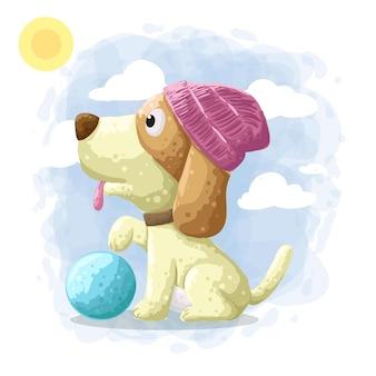 Dessin animé mignon chien illustration vecteur
