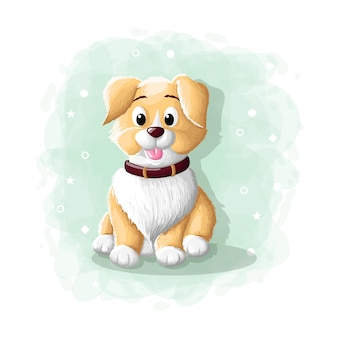 Dessin animé mignon chien illustration