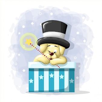 Dessin animé mignon chien magicien illustration