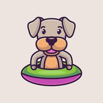 Dessin animé mignon chien natation