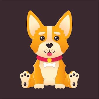Dessin animé mignon chiot corgi chien assis et souriant avec la langue sur illustration vectorielle isolé