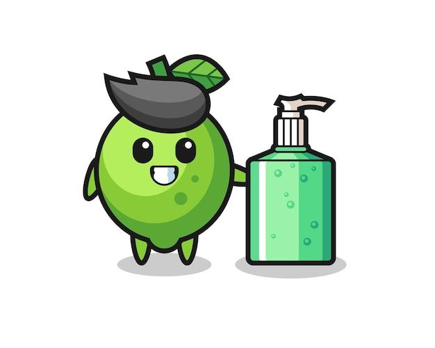 Dessin animé mignon de citron vert avec désinfectant pour les mains, design de style mignon pour t-shirt, autocollant, élément de logo