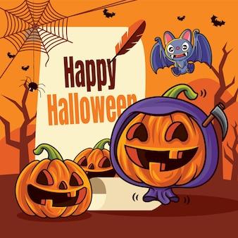 Dessin animé mignon citrouilles et chauve-souris volante avec rouleau vintage saluant joyeux halloween