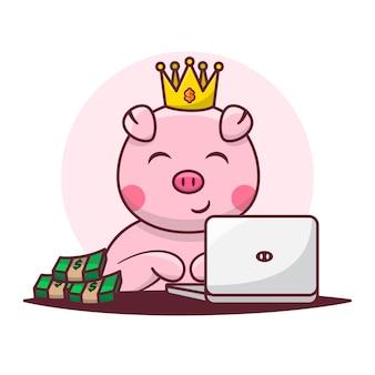 Dessin animé mignon de cochon avec ordinateur portable et argent comptant