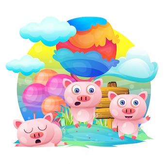 Dessin animé mignon cochon