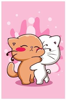 Dessin animé mignon couple chat câlin ensemble
