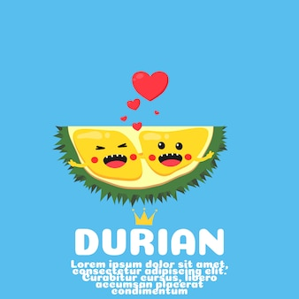 Dessin animé mignon couple durian. fruit asiatique.