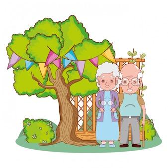 Dessin animé mignon couple de grands-parents