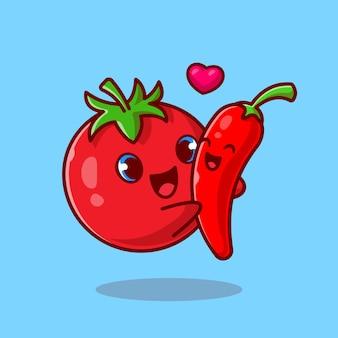 Dessin animé mignon couple de piment câlin tomate