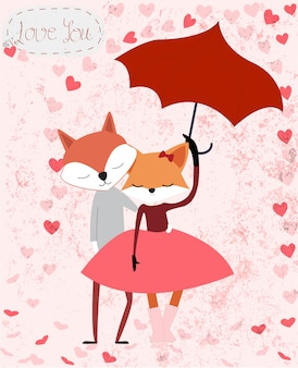 Dessin animé mignon couple de renard