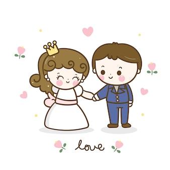 Dessin animé mignon couple romantique, tenant la main