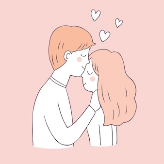 Dessin animé mignon couple saint valentin et amour.