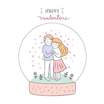 Dessin animé mignon couple saint valentin et vecteur de l'amour.