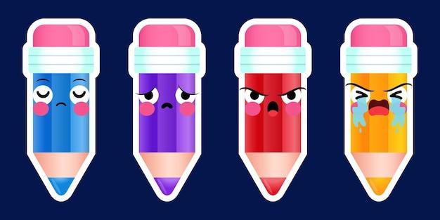 Dessin animé mignon crayons autocollant émoticône visage ensemble émotions négatives