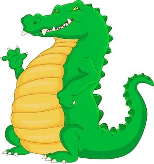 Dessin animé mignon de crocodile en agitant