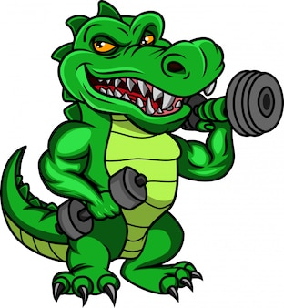 Dessin animé mignon crocodile tenant des haltères