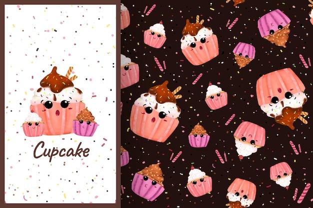 Dessin animé mignon cupcake sucré illustration modèle sans couture couleur pastel