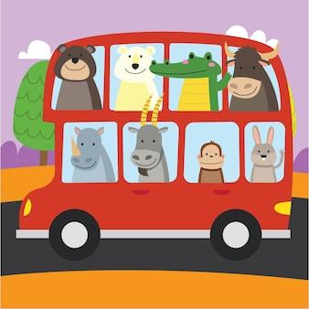 Dessin animé mignon dans l'illustration de thème de transport