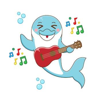 Dessin animé mignon dauphin jouant de la guitare
