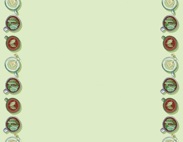 Dessin animé mignon dessinés à la main tasses du modèle sans couture de délicieux boissons vert