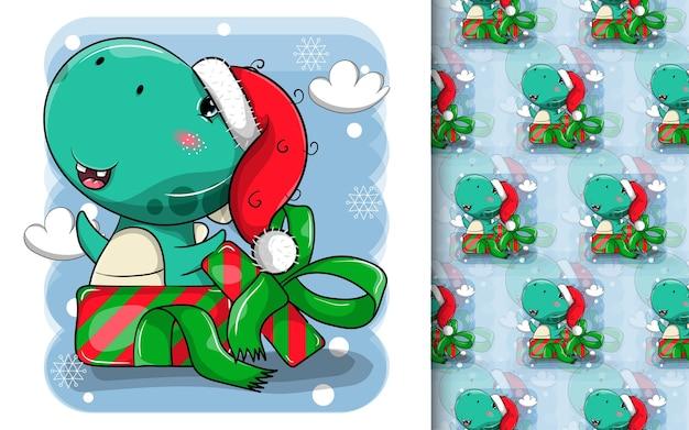 Dessin animé mignon de dinosaure portant un bonnet de noel et dans la boîte-cadeau