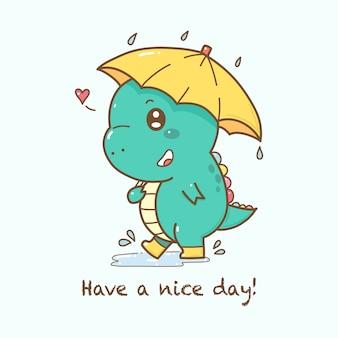 Dessin animé mignon de dinosaure tenant un parapluie sous la pluie.