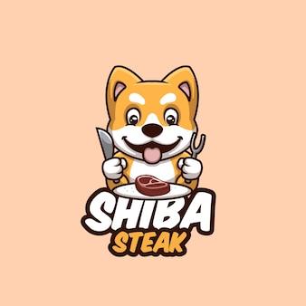 Dessin animé mignon doge shiba inu steak nourriture logo dessin animé