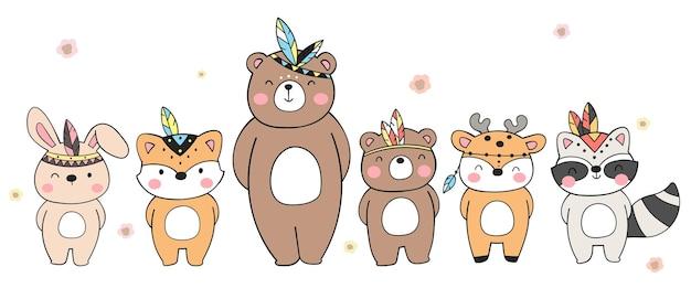 Dessin animé mignon de doodle animal tribal des bois