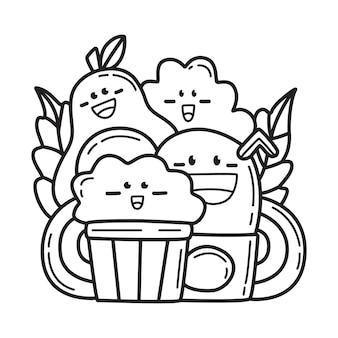 Dessin animé mignon doodle illustration de conception de coloriage