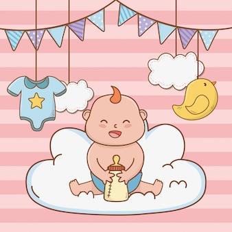 Dessin animé mignon de douche de bébé