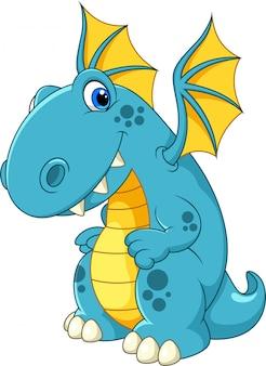 Dessin animé mignon dragon bleu