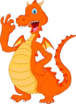 Dessin animé mignon dragon de feu agitant