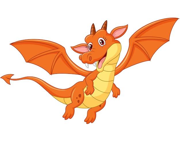 Dessin animé mignon dragon orange volant
