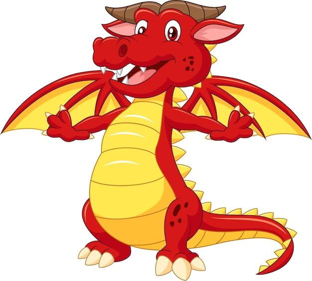 Dessin animé mignon dragon rouge isolé sur fond blanc