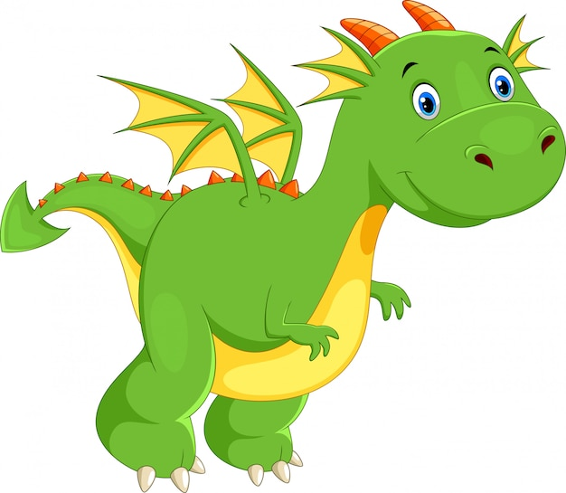 Dessin animé mignon dragon vert