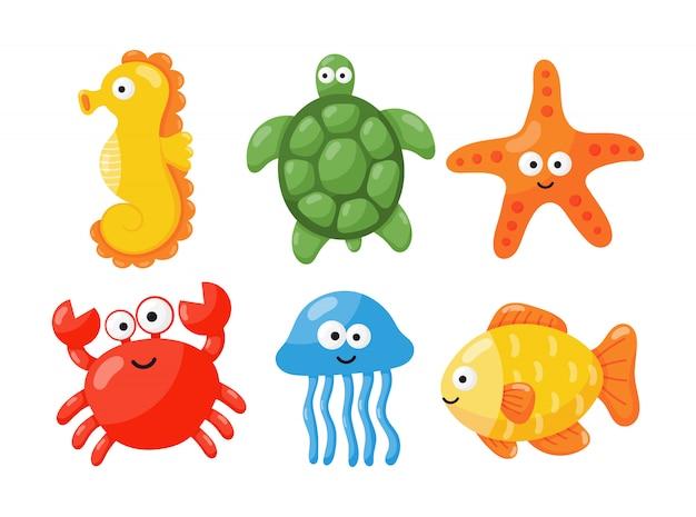 Dessin animé mignon drôle d'animaux de mer et océan isolé