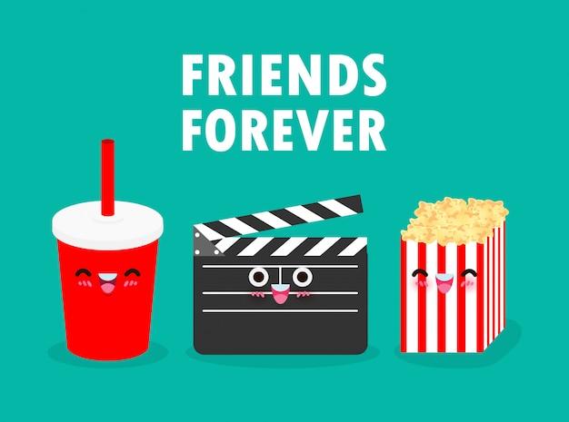 Dessin animé mignon drôle film clapper et cola et pop-corn, regarder un film, cinéma, films, amis pour toujours illustration sur fond blanc