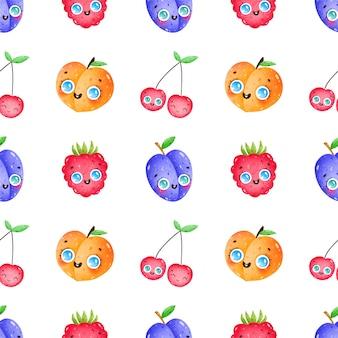 Dessin animé mignon drôle fruits et baies modèle sans couture sur fond blanc. prune, pêche, cerise, framboise