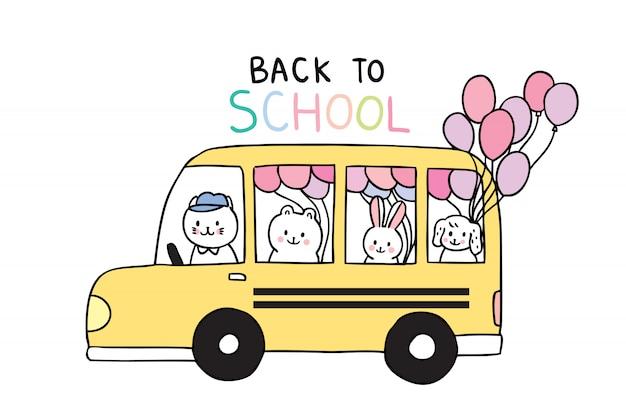 Dessin animé mignon à l'école des animaux et des autobus scolaires