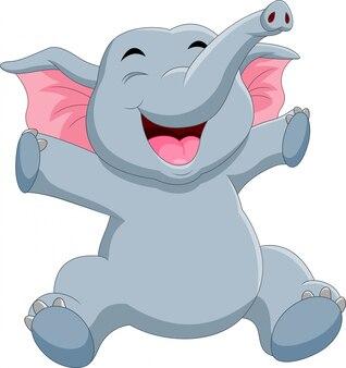 Un dessin animé mignon éléphant assis