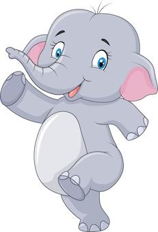 Dessin animé mignon éléphant de dessin animé heureux